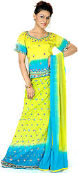 Lime-Green and Hawaiian-Ocean Lehenga Choli with Beads and Floral Embroidery