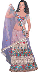 Lavender Bridal Lehenga Choli with Floral Ari Embroidery All Over