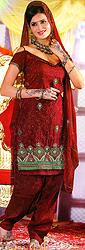 Garnet-Red Bridal Salwar Kameez with Crewel Embroidered Flowers and Sequins