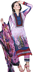 Parallel Suit with Printed Dupatta and Patch Border