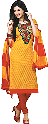 Printed Kameez and Choodidaar Suit with Floral Patch on Neck