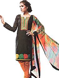 Jet-Black and Orange Choodidaar Kameez Suit with Patch Embroidery on Neck and Border