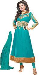 Fairway-Green Choodidaar Kameez Suit with Ari Embroidered Flowers in Metallic Thread