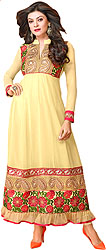 Impala-Yellow Anarkali Suit with Embroidered Patches on Neck and Border