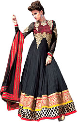 Jet Black Wedding Anarkali Suit with Ari Embroidered Flowers and Wide Patch Border
