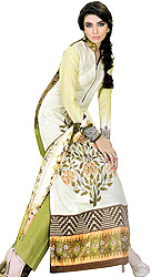 Ming-Green Pakistani Salwar Kameez Suit with Floral Thread Embroidery
