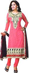 Garnet-Rose Choodidaar Kameez Suit with Ari Embroidery on Neck and Self Weave