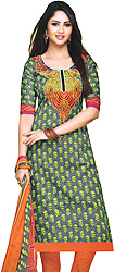 Excalibur-Gray Choodidaar Kameez Printed Suit with Embroidered Patch on Neck