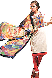 Pristine-White and Red Choodidaar Kameez Suit with Thread Embroidered Patch on Neck and Printed Dupatta