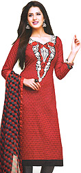 American-Red Choodidaar Kameez Suit with Floral Embroidered Patch and Printed Bootis