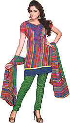 Multi-Color Printed Choodidaar Kameez Suit with Thread Embroidered Floral Patch and Crochet Border