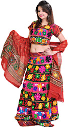 Black Lehenga Choli from Rajasthan with Crewel Embroidered Flowers and Mirrors