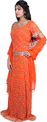 Flamingo-Orange Bridal Lehenga Choli with Beadwork and Sequins