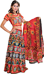 Multi-Color Lehenga Choli from Jaipur with Crewel Embroidery and Mirrors