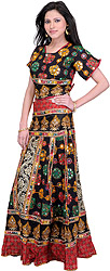 Jet Black and Red Two-Piece Lehenga Choli from Kutch with Ari Embroidered Flowers and Mirrors