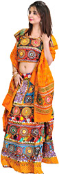 Mimosa-Yellow Lehenga Choli from Rajasthan with Mirrors and Sequins
