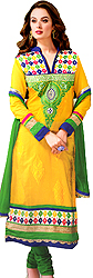 Cyber-Yellow Long Choodidaar Kameez Suit with Ari Embroidered Paisleys on Neck with Faux Pearls