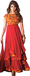 Jester-Red Flared Priyanka Chopra Suit with Thread Embroidered Flowers