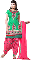 Trekking-Green and Pink Patiala Salwar Kameez Suit with Embroidered Patches and Crochet Border