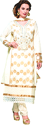 Winter-White Wedding Choodidaar Kameez Suit with Crewel Embroidered Patch on Neck