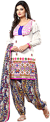 Bright-White Salwar Kameez Suit with Thread Embroidery and Printed Elephants