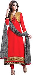 Brick-Red Long Choodidaar Kameez Suit with Ari Embroidered Flowers on Border and Bolero Jacket