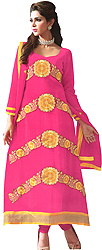 Lilac-Rose Long Choodidaar Kameez Suit with Floral Embroidered Patch in Yellow Thread
