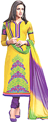 Mimosa-Yellow Choodidaar Kameez Suit with Embroidered Flowers and Digital Print