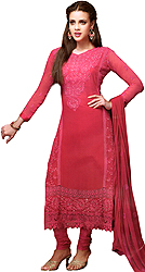 Rose-Red Choodidaar Kameez Suit with Embroidered Flowers in Self Colored Thread