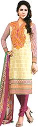 Antique-White Choodidaar Kameez Suit with Printed Paisleys