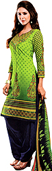 Forest-Green and Blue Salwar Kameez Suit with All-Over Printed Flowers