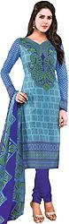 Ocean-Blue Choodidaar Kameez Suit with Printed Paisleys and Flowers