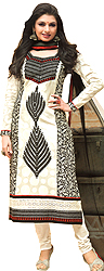 White and Black Choodidaar Kameez Suit with Ari Embroidered Leaves and Crochet Border