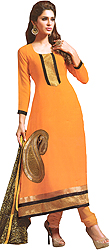 Apricot-Orange Designer Choodidaar Kameez Suit with Paisley Embroidered Patch and Printed Dupatta