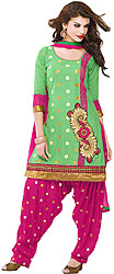 Garden-Green and Fuchsia Patiala Salwar Kameez Suit with Polka Dots and Paisley Patch