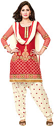 Rio-Red and White Salwar Kameez Suit with Embroidered Flowers
