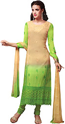 Khaki and Green Long Choodidaar Kameez Suit with Crewel Embroidery on Neck and Crochet Border