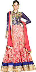 Rose-Red and Blue Bridal Flared Anarkali Suit with Parsi Embroidery and Sequins