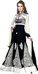 Black and White Wedding Anarkali Suit with Thread Embroidered Flowers