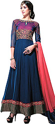 Indigo-Blue Designer Wedding Ghera Kurta Suit with Embroidered Flowers and Wide Border