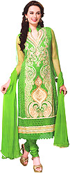 Classic-Green Long Choodidaar Kameez Suit with Thread Embroidery and Sequins