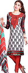 Winter-White and Red Printed Choodidaar Kameez Suit with Embroidered Patch on Neck