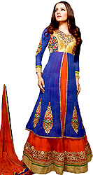 French-Blue Designer Wedding Anarkali Suit with Thread Embroidered Flowers and Wide Border