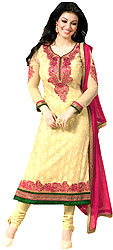 Yellow-Cream Choodidaar Kameez Suit with Embroidered Paisleys on Neck and Self-Weave
