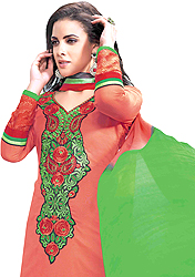 Claret-Red Choodidaar Kameez Suit with Floral Embroidered Patch on Neck