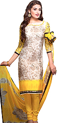 Oxford-Tan and Yellow Choodidaar Kameez Suit with Printed Flowers and Crochet Border