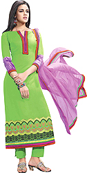 Forest-Green Parallel Salwar Suit with Ari Embroidery on Border