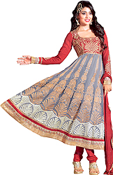 Rio-Red and Gray Bridal Anarkali Suit with Crewel Embroidery and Patch Border