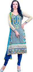 Tuscany-Gray and Blue Choodidaar Kameez Suit with Patch work on Neck