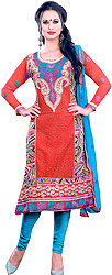 Rio-Red and Blue Choodidaar Kameez Suit with Embroidered Flowers